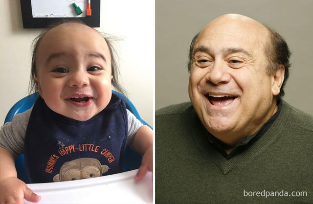 据美国社交网站Boredpanda报道,还记得曾经在网上轰动一时的长着明星脸的动物们吗?现在又有一大波天生名人脸的宝宝们来了。图为宝宝和美国著名喜剧大师Danny Devito撞脸的照片。