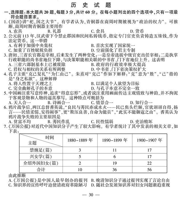 2017年高考江苏卷试题及参考答案(历史)