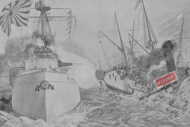 图为甲午海战中高升号被速浪号击沉示意图。(《伦敦新闻画报》)
