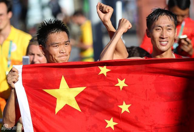 里约奥运会男子20公里竞走,中国选手王镇夺金。