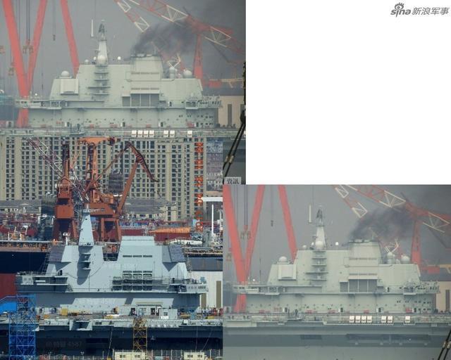 有网友根据最新的国产001A航母照片与同角度辽宁舰进行对比,舰岛部分的改进清晰可见,体积缩小了不少,设计也更具有中国舰艇的风格。(来源:大江户战士OedoSoldier)