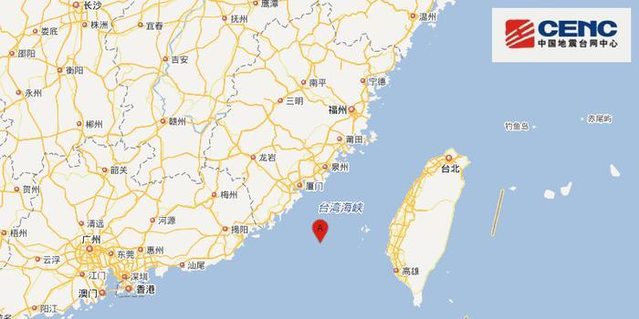 臺灣海峽附近發生4.3級左右地震