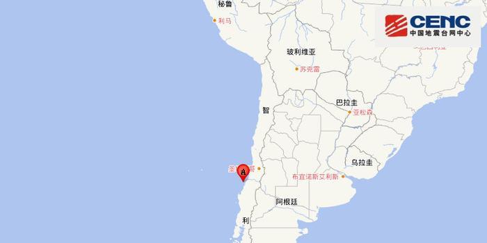 智利中部沿岸近海附近發生6.8級左右地震